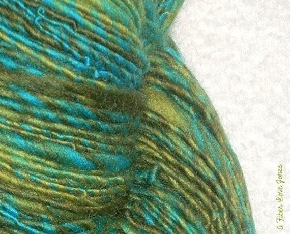 Water Lilies II - single ply - 100 yards - Art yarn - Weaving- Mixed Media - Knit - Crochet - Felt