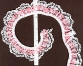 Double gathered lace trim White and Pink 15yd   (XD129)