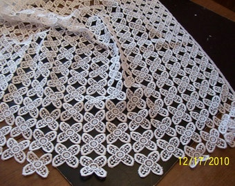 Vintage Bridal White Cotton guipure allover  lace  (353)