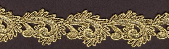 1.5 inch wide Gold Venise lace trim 13 yds (D813)