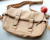 Handmade Light Wheat Color Messenger Genuine Leather Bag - Made to order