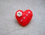 Red Love Heart Brooch