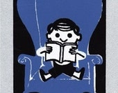 Adorable 'Library Boy' Postcard