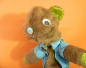 Brown Bear in Blue Kermit Shirt Hand Puppet