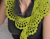 Fresh Juicy Lime - crocheted openwork lace spring summer scarf / scarflette / collar