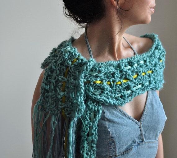 15% OFF - Aphrodite's Scarf - OOAK handknit fringe scarf / scarflette / shawl in aqua shades
