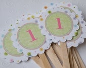 12 Cupcake Toppers - Girly Number - Custom