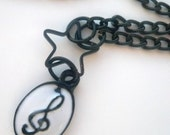 Kitsch and Quirky Musical Monochrome Pendant Necklace