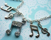 Please Don't Stop the Music Kitsch Sparkly Charm Necklace