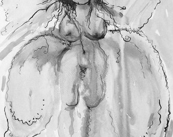Ballerina Angel - Matted Digital Giclee Print - 6 x 9 inches FREE SHIPPING