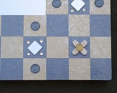 Hold for Cheryl. Hand Painted Mirror Frame Checkerboard  Blue and White