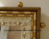 HOLD / RESERVED for Gerry Hand Painted Whimsical Mirror Frame in Honey