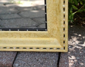 Mirror Frame, Hand Painted Gold with Black Accent
