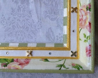 Whimsical Mirror Frame Hand Painted - Pink Roses