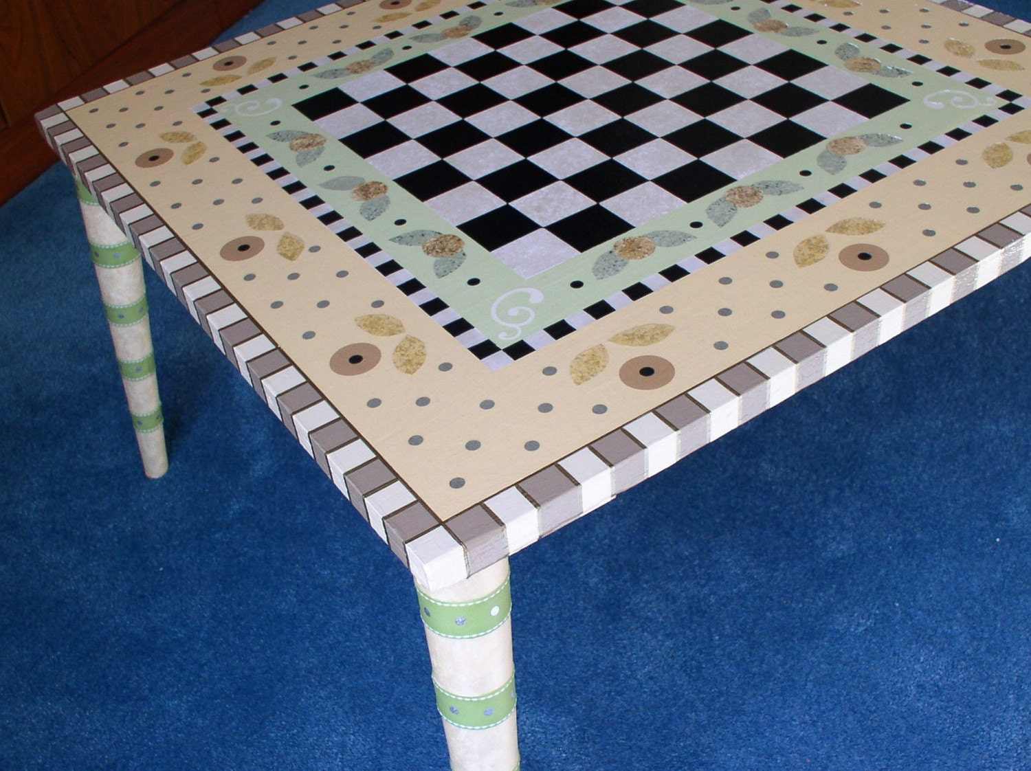 Hand Painted Game or Coffee Table Checkers SL
