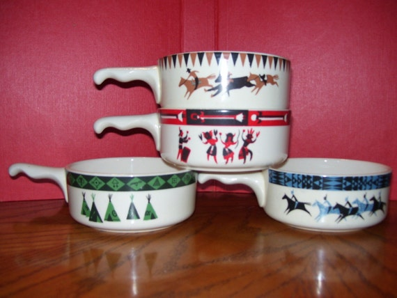 Vintage Chili Bowls With Handles By Lee Bates Of New Mexico 4