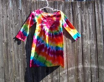 Tie Dyed Sunshine Rainbow Spiral  Long Sleeve Infant/Toddler  Lap Shoulder Dress