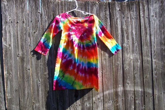 Sunshine Rainbow Spiral Tie Dyed Long Sleeve Infant/Toddler  Lap Shoulder Dress