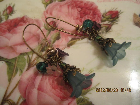 Vintage My Love Lily Earrings in Teal Blue Last Pair - SALE PRICE