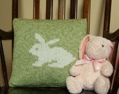 Handknit White Rabbit Pillow - Personalization available