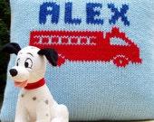 Personalized Handknit Firetruck Pillow