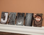 """Alphabet Photography - 9 letters-custom - floating frame, last name, first name, wedding, anniversary - 4""""x6"""" frames mounted & ready to hang"""