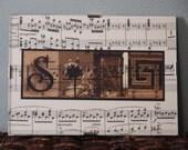 """5""""x7"""" 'Sing' printed on vintage music paper"""