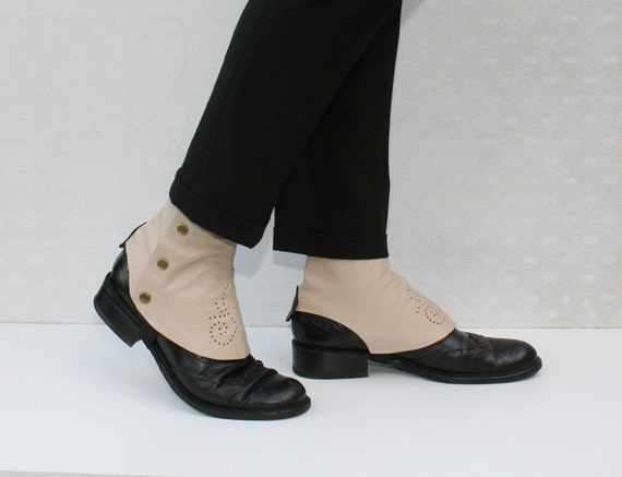 beige leather spats