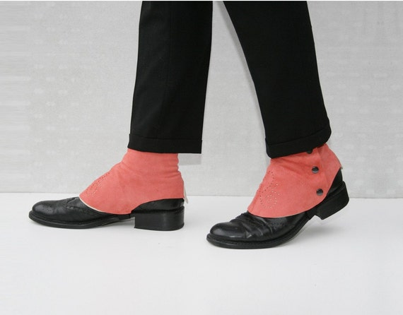 salmon pink suede spats
