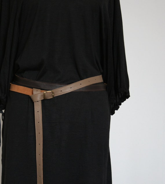 skinny double wrap leather belt in 3 shades of brown