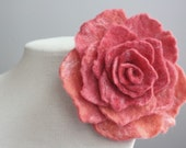 Felted Flower Brooch Pin-Classic Rose in Salmon and White-Handmade Wet Felting