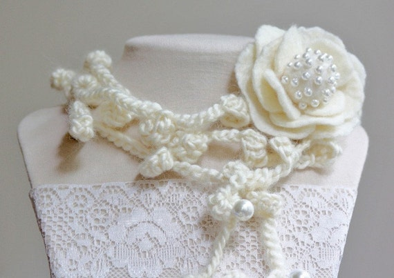 Felted Flower with Crocheted Lariat\/Scarf\/Necklace\/Bracelet - made from Wool, Silk and Pearls - in Wedding Classic White - Inspired by Vintage Style Jewelry