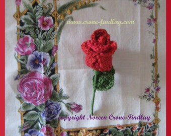 Pdf pattern for Crocheted Rosebud pin or barrette