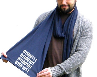 Geek Scarf - GEEK in (ASCII) Binary Code - American Apparel Jersey Knit - His and Her Scarf