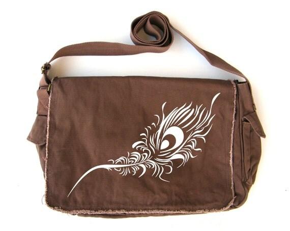 Peacock Feather Messenger Bag