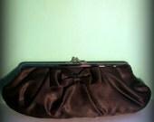 Vintage Satin Black Bow Kiss-Lock Closure Clutch