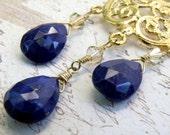 On Sale 10 Percent Off Blue Chandelier Earrings Lapis Lazuli Gemstones