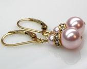 Pink Pearl Earrings, Bridal Jewelry, Swarovski Pearls, Gold Filled, Pink Drop Earrings, Bridesmaid Earrings, Spring Wedding Jewelry