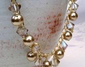 Beige Pearl Bracelet, Champagne Swarovski Crystal, Yellow Topaz Crystal, Taupe Pearl Wedding Jewelry, Christmas Bracelet, Handmade Gift