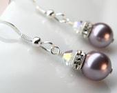 Purple Pearl Earrings, Bridesmaid Jewelry, Bridal Earrings, Wedding Lilac Lavender Swarovski Pearl, Sterling Silver, Handmade Gift