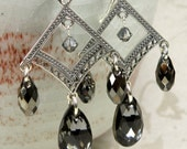 Black Chandelier Earrings, Sterling Silver, Statement, Holiday, Party, Large Dangle, Wedding Jewelry, Autumn Fall Fashion