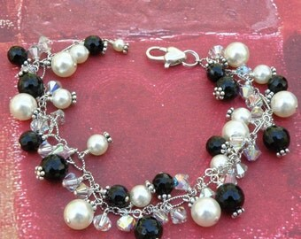 Black Onyx and Ivory Swarovski Pearl Bracelet, Sterling Silver, Black and White Cluster Bracelet, Wedding Jewelry Gift, Mother of the Bride