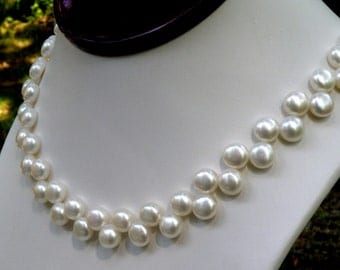 Flat Pearl Necklace, White Round Freshwater Pearls, Ivory Wedding Bridal Jewelry, For the Bride, June Birthday, Birthstone, Handmade Gift