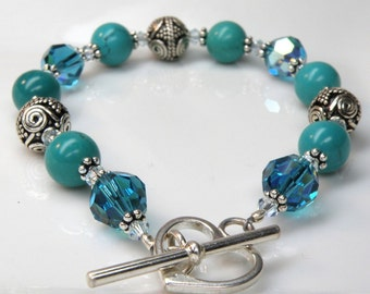 Turquoise Stone Bracelet, Sterling Silver, Teal Blue Gemstone Beaded, December Birthday, Birthstone Jewelry Gift, Handmade Ready to Ship