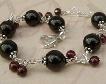 Garnet Bracelet, Red Gemstone Jewelry, Garnet Stone, Janruary Birthday, Red Birthstone, Handmade Jewelry, Sterling Silver