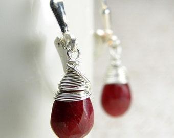 Ruby Earrings, Sterling Silver, Red Gemstone, Teardrop Handmade Jewelry, July Birthday Birthstone