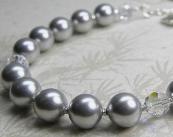 Gray Pearl Bracelet, Silver Bridesmaid Jewelry, Handmade Bridal Party Gift, Sterling Silver Clasp, Classic Grey Swarovski Crystal, Custom