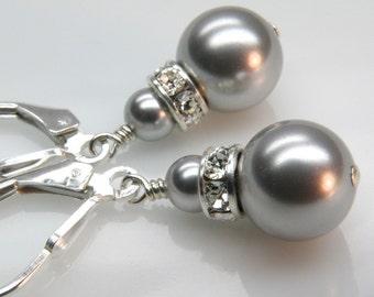 Silver Pearl Earrings, Grey, Gray, Drop, Dangle, Swarovski Round Pearl, Sterling Silver, Bridal Bridesmaid, Wedding Jewelry, Handmade