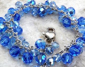 Sapphire Crystal Bracelet, Blue, Swarovski, Cluster, Sterling Silver, Wedding, Handmade Jewelry, September Birthday, Winter Accessories