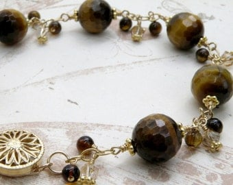 Tigers Eye Bracelet, Gold Filled, Chain and Link, Natural Brown Gemstone, Autumn Stone, Fall Wedding Handmade Jewelry Gift, Ready to Ship